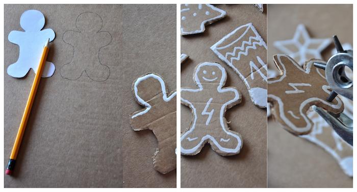 modele de calendrier de l avent en papier cartonné à motif noël, bonhomme de neige, sapin de noel, contours feutre blanc pour fabriquer un calendrier de l avent maison suspendu