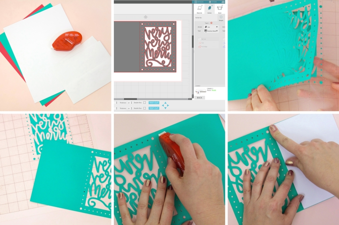 tutoriel pour créer une carte de voeux noel, exemple de bricolage noel facile avec papier coloré, modèle carte postale DIY à message joyeux noel