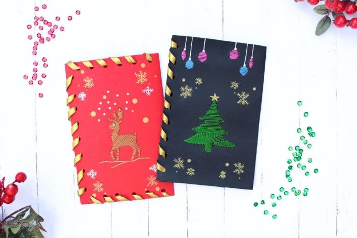 magnifique exemple de carte postale DIY pour Noel, carte de voeux noel en papier coloré avec figurines brodées et bordure en ruban doré