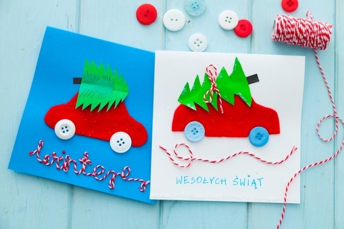 activité manuelle noel, modèle carte de voeux facile en papier coloré, idée carte DIY pour enfants, art papier pour noel