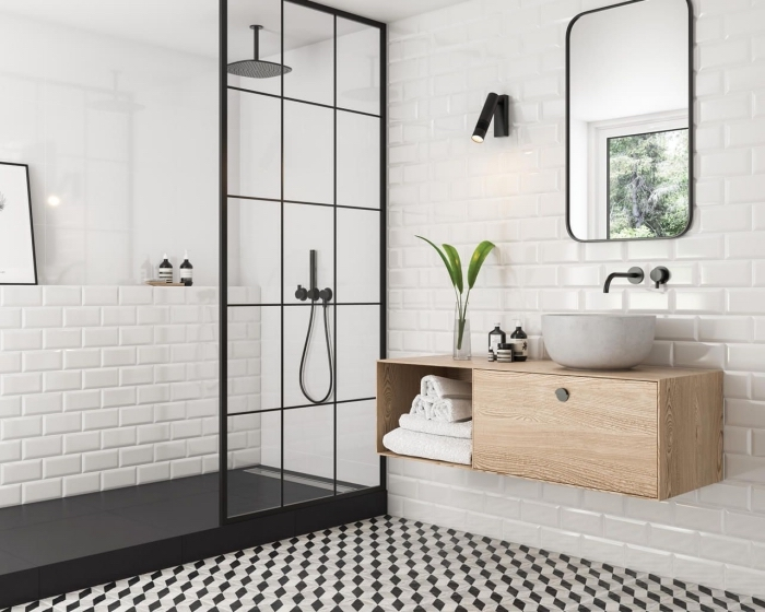 faience salle de bain à design briques blanches, meuble salle de bain en bois, idée déco de pièce moderne en blanc et noir