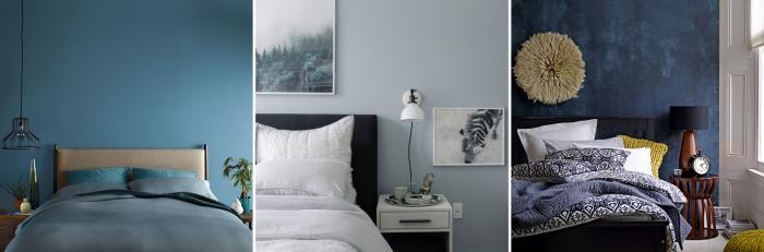 décoration chambre à coucher contemporain aux murs en bleu foncé ou bleu pastel, éclairage industriel lampe suspendue