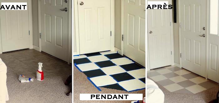photo entrée de maison avec sol en carrelage rénové et peint avec peinture pour céramique bicolore