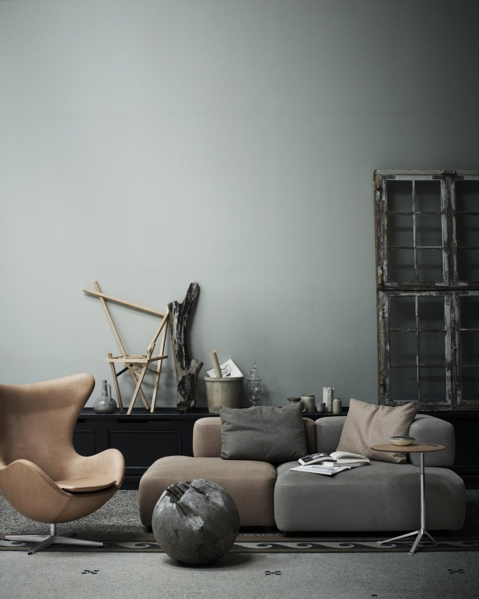 idée couleur de peinture pour salon salle a manger, aménagement de salon en couleurs neutres avec canapé d'angle gris