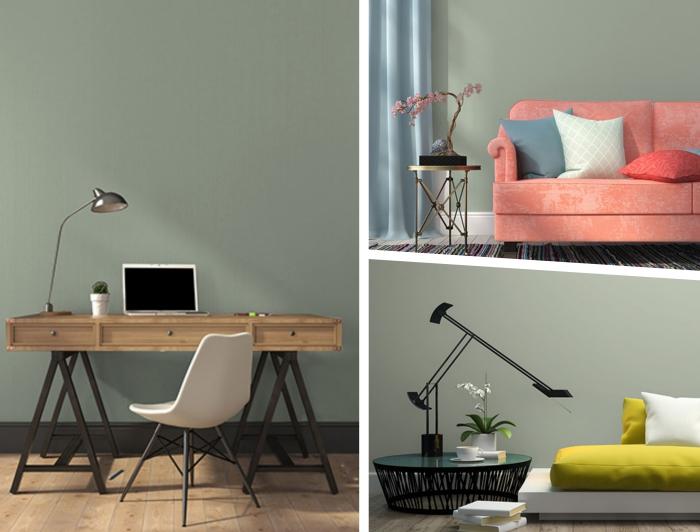comment décorer son bureau à domicile de style moderne, exemple de peinture vert de gris tendance 2019