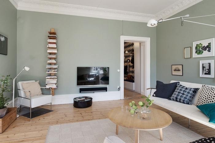 déco de salon scandinave aux murs de couleur vert de gris, meuble rangement livres vertical en bois brut, déco avec plantes vertes