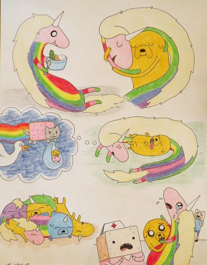 dessin de licorne originale avec une série de dessins des caractères de la bande dessinée adventure time, licorne originale avec corps allongé