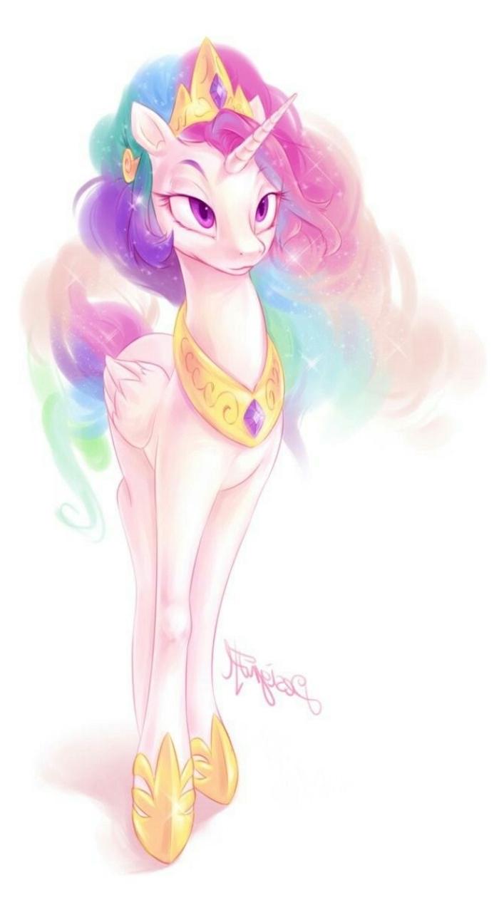 dessin de princesse licorne à l'aquarelle avec une crinière