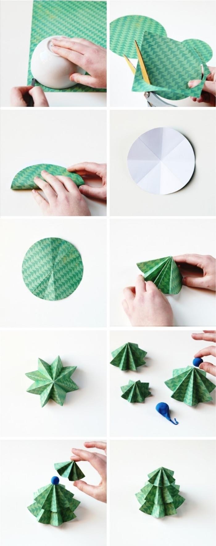 petit sapin de noel en papier réalisé à partir de trois cercles pliés de différents diamètres et empilés l'un sur l'autre