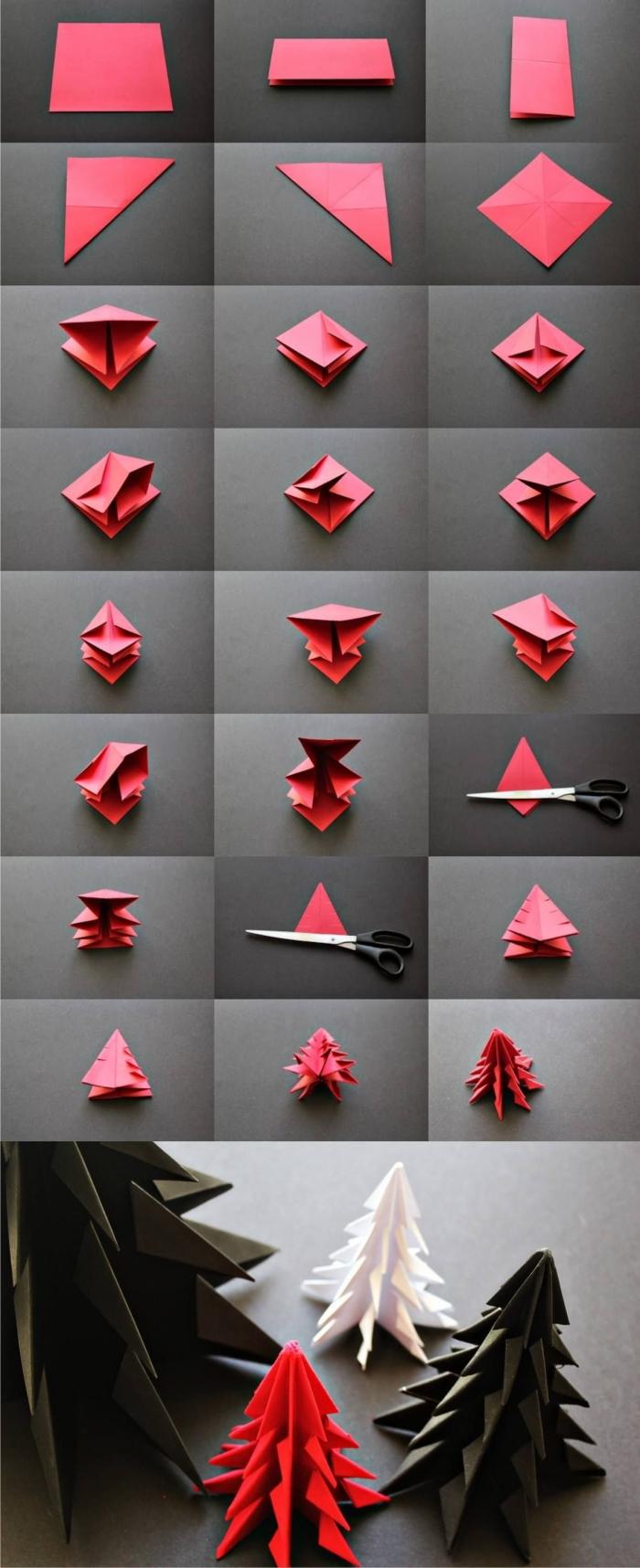 les étapes de pliage pour faire un mini sapin origami qui décorera joliment un centre de table ou une étagère