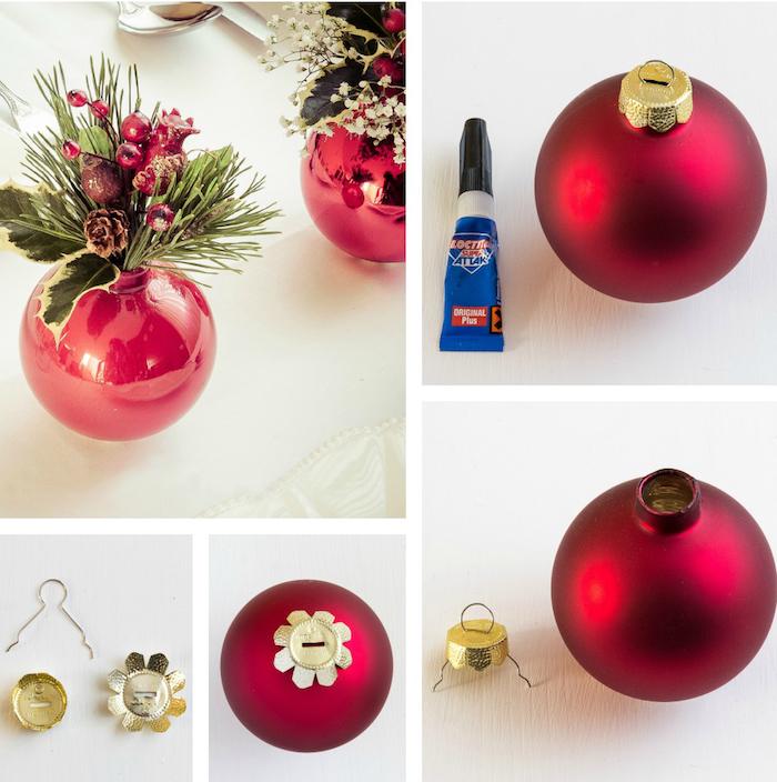 petit vase soliflore fabriqué dans une boule de noel rouge avec bouquet de branche de pin, pomme de pin et houx