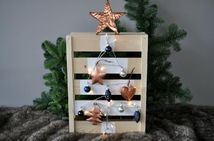 petite palette en bois, plaid fausse fourrure grise, étoile cuivrée au top d'un sapin illustré sur la palette, ornements bleus et cuivrés