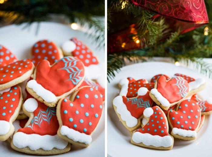 comment faire des biscuits en forme gants de père noel, idée décoration art culinaire facile au glaçage rouge avec sucre glace