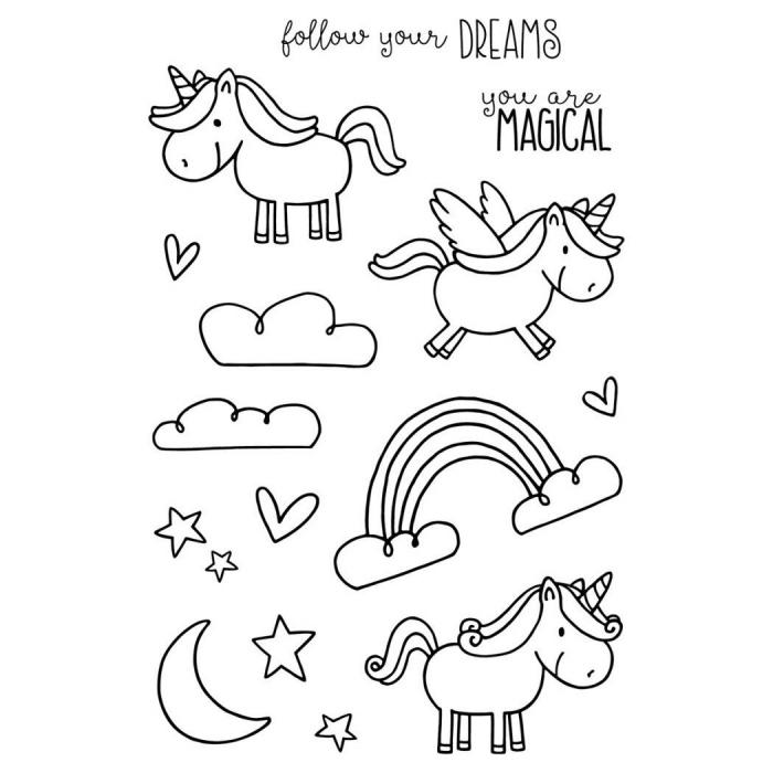 dessin facile petite licorne kawaii avec ou sans ailes avec message inspirant et de petits dessins de nuages, arc-en-ciel et étoiles