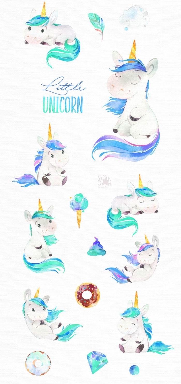 petits dessins licornes à l'aquarelle dans des poses différentes, dessin kawaii licorne mignonne