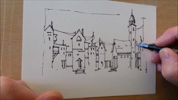 Dessin de paysage, dessin facile a faire, maitrise artistique pour apprendre le dessin des patiments