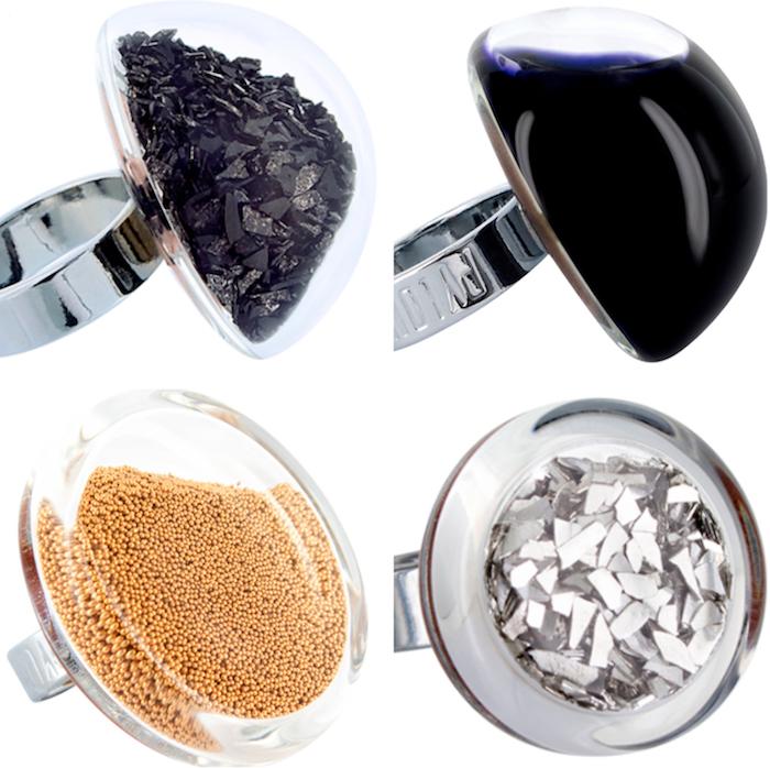 montage de bagues originales en verre faites main comme idée de bijoux originaux comme cadeau de noel