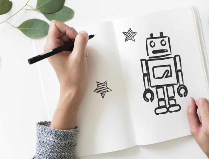Apprendre à dessiner un robot simple, dessin facile a faire avec lignes droites, les dessins pour les débutants