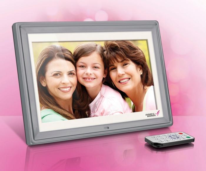 cadeau anniversaire maman, modèle de cadre digital en gris avec télécommande, exemple de cadre numérique, cadeau high tech pour noel