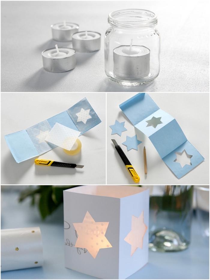 photophore de noël très facile à réaliser, fait avec du papier découpé autour d'un pot en verre, decoration de noël à fabriquer en papier pour apporter une touche poétique à nos intérieurs