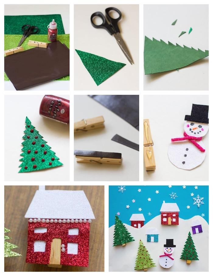 comment faire des pinces à linge magnétiques avec figurines de papier gommé, motif bonhomme de neige, maisonnette et sapin de noel pailleté