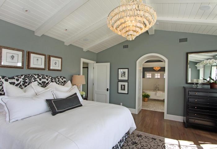 aménagement chambre adulte, idée quelle peinture pour une chambre à coucher tendance 2019, chambre grise et blanche