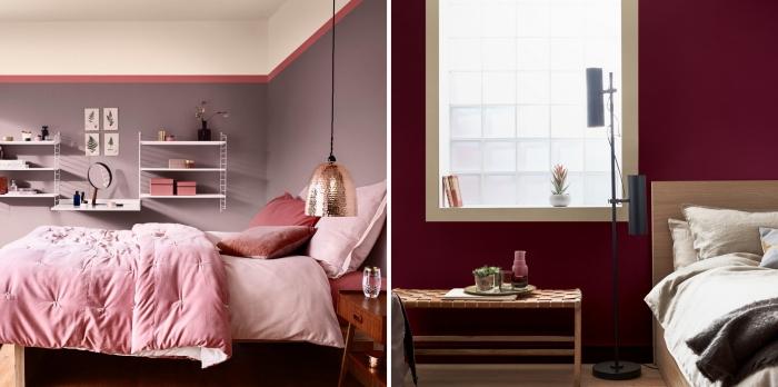 exemple de chambre adulte deco moderne, couleur violet pastel ou bordeaux pour murs dans une chambre tendance 2019