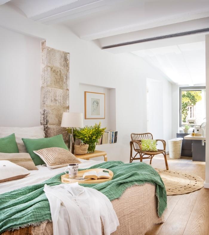 décoration chambre à coucher cozy aux murs blancs et parquet en bois clair, peinture murale en nuance blanche