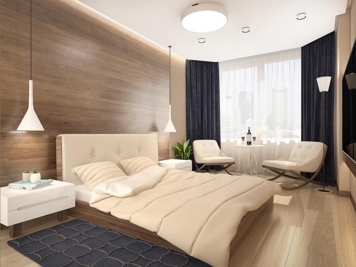 exemple de design stylé dans une chambre adulte aux couleurs neutres, idée couleur chambre moderne en 2019