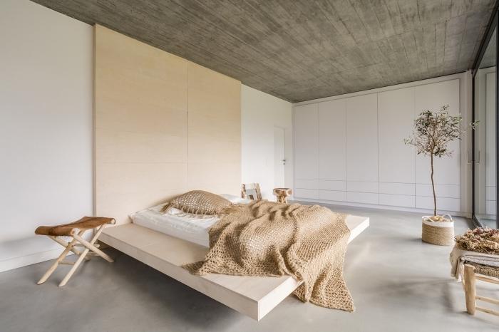 design intérieur moderne de style minimaliste, déco de chambre à coucher aux couleurs neutres, choix peinture blanche