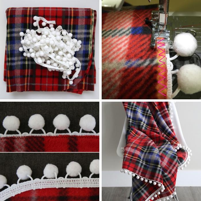 tutoriel pour faire un plaid de Noel facile, diy activité avec tissu et bande de mini pompons au mètre, idee cadeau noel femme DIY