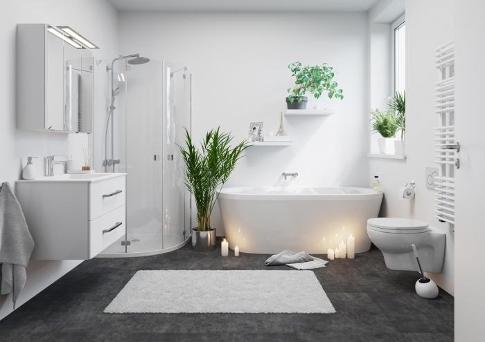 modele salle de bain avec cabine de douche et baignoire, exemple salle de bain aux murs et plafond blancs avec sol en gris foncé