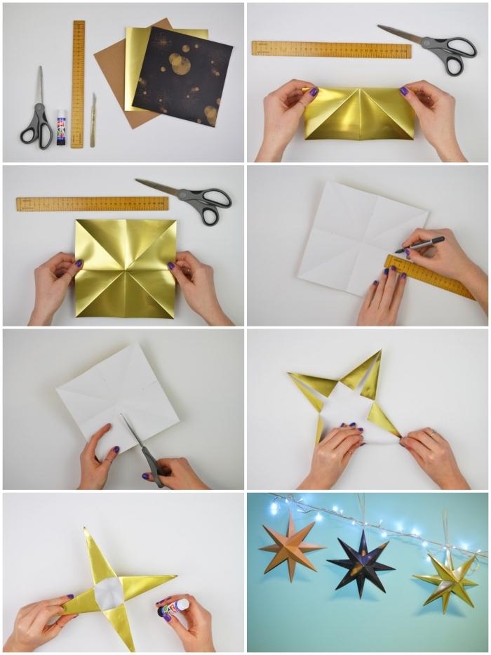 les étapes de pliage pour réaliser une étoile origami noel en papier métallisé, à suspendre au mur ou sur un sapin de noël