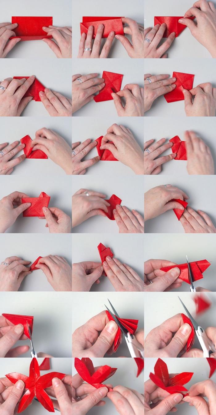 activités manuelles noel avec du papier pour réaliser une jolie décoration à petit prix, pliage et découpage d'une fleur de poinsettia en papier