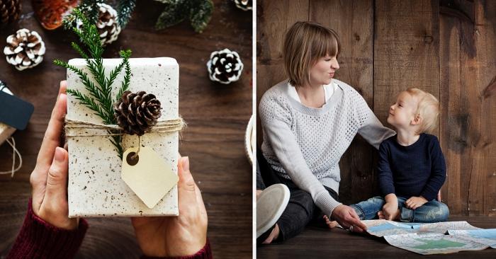 idée cadeau maman, comment emballer un cadeau pour Noel avec ficelle en jute et pomme de pin, papier cadeau granite en blanc
