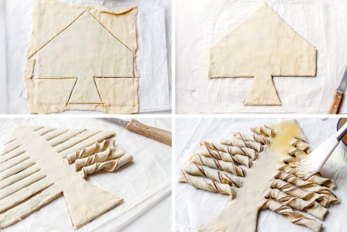 idée recette gateau noel facile et rapide, exemple comment faire un sapin de noel sur pâte, garniture pâte au chocolat