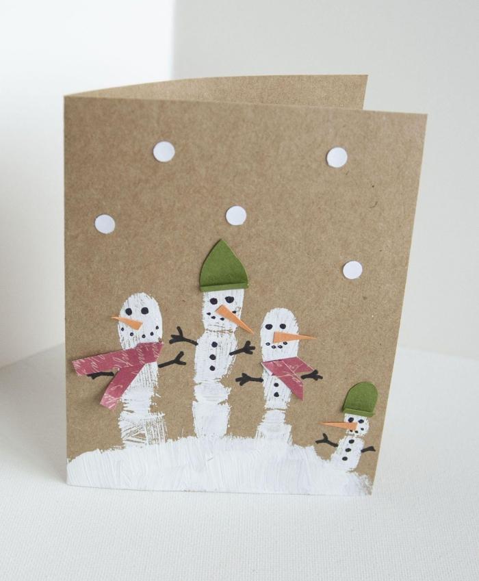 activité manuelle noel pour enfants, fabrication carte noel facile en papier kraft brun avec dessins faciles maternelle