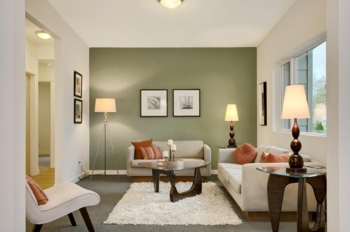 comment intégrer la couleur vert d'eau ou vert gris dans la déco moderne, exemple de salon blanc avec mur en gris verdâtre