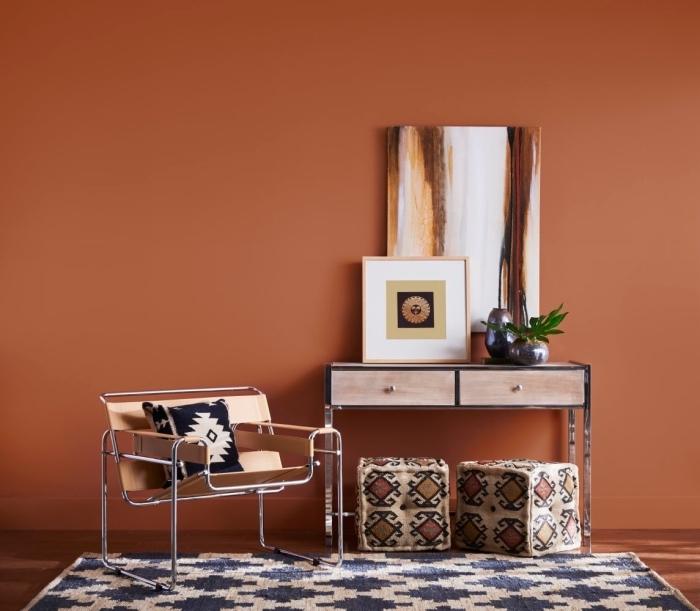 peinture chambre adulte moderne, design intérieur 2019, décoration avec meubles en bois clair et métal, plante verte d'intérieur