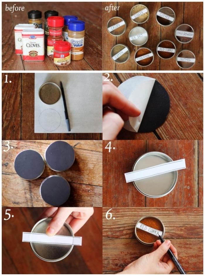 rangement épices fonctionnel et gain de place, de petites boîtes magnétiques à coller sur le frigo