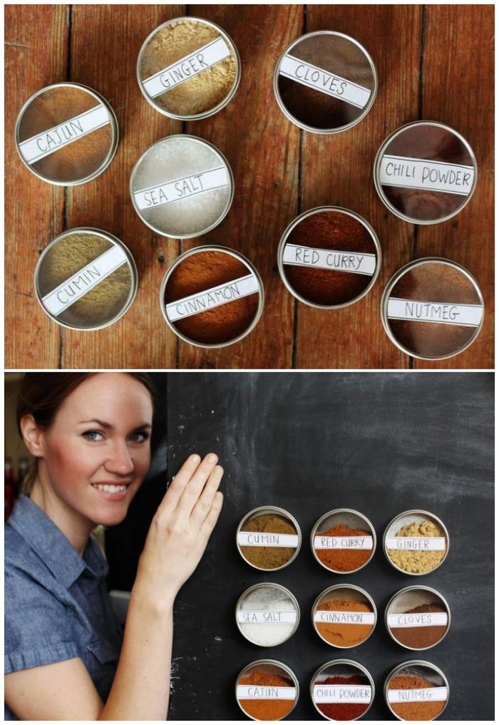 de petites boîtes magnétiques pour ranger ses épices, rangement épices fonctionnel à coller sur le frigo