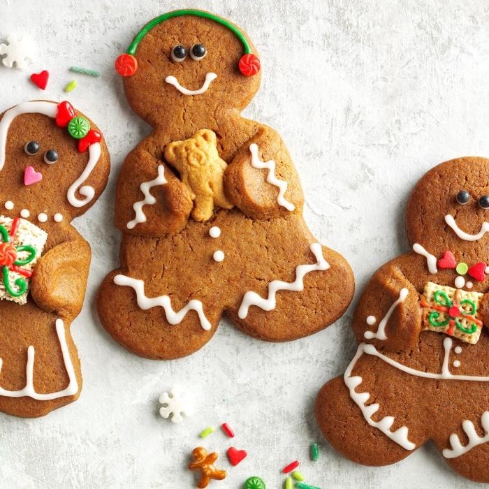 comment faire des cookies classiques pour noel, biscuits a la cannelle et au miel en forme de bonhomme de neige