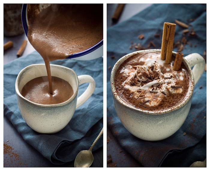 idee comment faire du chocolat chaud maison sans gluten avec noix de cajou, cannelle, gingembre, boisson chaude hiver facile protéinée