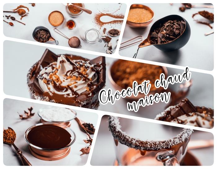 idée comment préparer chocolat chaud maison délicieux dans un verre givré de chocolat fondu et noix de coco râpée