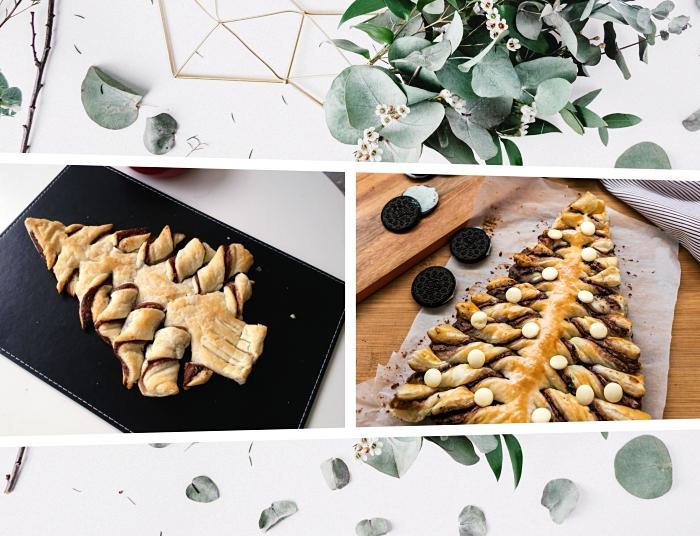 idée sapin pate feuilletée facile, exemple comment faire un arbre de noel sucré avec pâte et nutella, petit gâteau de noel maison