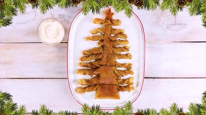 feuillete noel aperitif facile à préparer, exemple de sapin salé au fromage et jambon, comment faire un sapin de pâte
