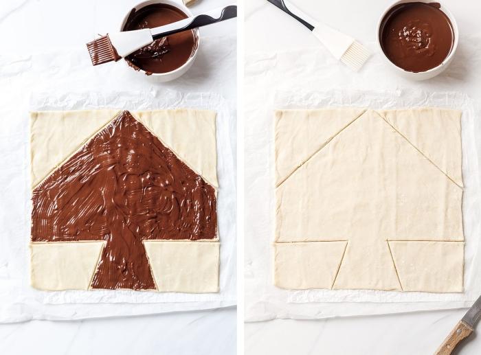exemple comment préparer feuillete noel aperitif, recette dessert au chocolat, gâteau de noel en pâte et nutella