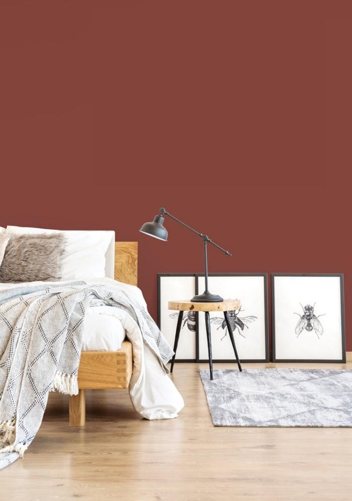 modèle de deco chambre femme contemporaine aux murs en couleur rouge avec meubles en bois et accessoires en noir mate