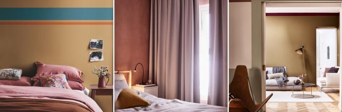 peinture chambre fille ou femme en couleurs beige ou brun, exemple de décoration chambre aux murs en miel ambré