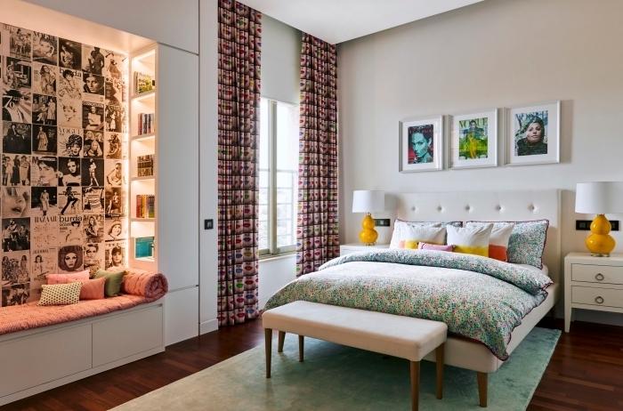 idée comment décorer une chambre à coucher, quelle couleur pour une chambre, peinture murale nuance de blanche